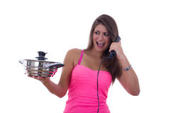 Spoiled girl hates cooking Royalty Free Stock Photo