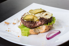Spoiled tasteless burger with roasted not Cutlets,. Old spoiled tasteless burger with roasted not Cutlets Royalty Free Stock Photos