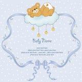 Spoiled teddy bear. New baby shower card with spoiled teddy bear Royalty Free Stock Photos