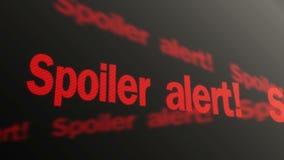 Spoiler alert text running on TV screen. Plot reveal warning in articles, films. Stock footage stock video