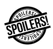 Spoilers rubber stamp. Grunge design with dust scratches. Effects can be easily removed for a clean, crisp look. Color is easily changed Stock Photo