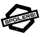 Spoilers rubber stamp. Grunge design with dust scratches. Effects can be easily removed for a clean, crisp look. Color is easily changed Stock Images
