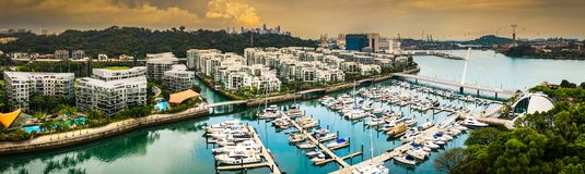 Spokój w Keppel zatoce, Singapur zdjęcia royalty free
