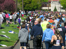 Spokane Bloomsday Runners 2010. Spokane Bloomsday Runners entering Browne's Addition, Spokane, WA, May 2, 2010 Stock Photo