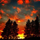 Spokane. Sunset with beautiful clouds and trees