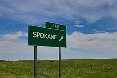 Spokane. US Highway Exit Sign for Spokane HDR Image Stock Image