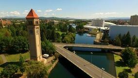 Spokane Washington Downtown City Architecture Riverwalk Clocktower stock videobeelden