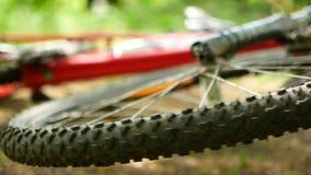 Spoked hjul av en vulten mountainbike för snurranden FullHD fritt video stock video