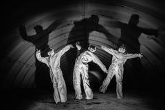 Spoken in donkere tunnel van kernenergieinstallatie Royalty-vrije Stock Afbeelding