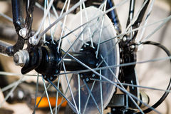 Spokes of a bicycle. Macro picture of bicycle spokes Royalty Free Stock Photography