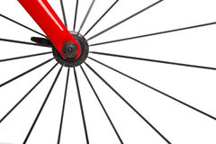 Spokes. Bicycle Concept. The wheel mechanism spokes. On a white background stock image