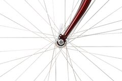 Spokes of a front bicycle wheel Royalty Free Stock Images