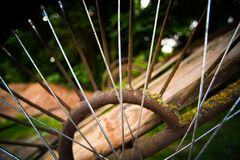 The spokes of the old cart. Close royalty free stock images