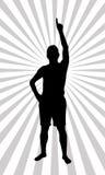 Spokesperson. A pointing spokesperson illustration on a background Stock Photo
