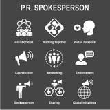 Spokesperson icon set - bullhorn, coordination, pr, and public r. Spokesperson icon set w bullhorn, coordination, pr, public relations person set Stock Photos