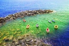 Spokojna scena na plaży w Cinque terre, Włochy Fotografia Stock