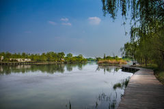 Spokojny jezioro i niebieskie niebo Zdjęcia Royalty Free