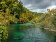 Spokojny jezioro w Chorwacja Poj?cie kulturalna i ekologiczna turystyka zdjęcia royalty free