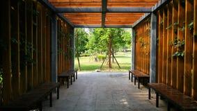 Spokojny miejsce z krzesłami i roślinami zdjęcia royalty free