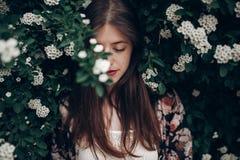 Spokojny portret piękna modniś kobieta w kwitnącym krzaku z w zdjęcie stock