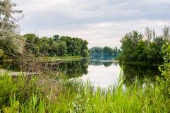 spokojny ranek na spokoju i najwięcej pięknego jeziora zdjęcie royalty free