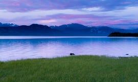 Spokojny wieczór krajobraz Jeziorny Laberge Yukon Kanada Obrazy Royalty Free