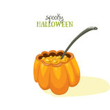 Spoky Haloween postcard. Orange pumpkin soup. Simple vector illustration. Royalty Free Stock Image