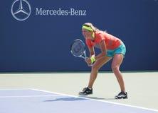 Två tider som den storslagna Slammästare Victoria Azarenka övar för US, öppnar Royaltyfri Bild