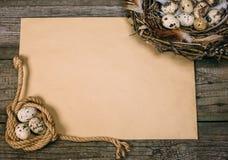 Spole för bästa sikt av repet med vaktelägg i en sida och redet i andra sidan av arket av papper för text på lantligt trä royaltyfria bilder
