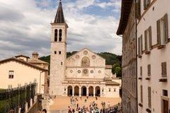 Spoleto, главная площадь стоковые фотографии rf