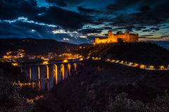 Spoleto city at night, Umbria - Italy. Royalty Free Stock Image
