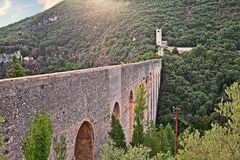 Spoleto, Umbria, Italy, the ancient bridge aqueduct Royalty Free Stock Image