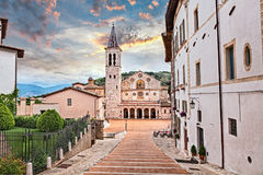Spoleto, Umbria, Italy: cathedral of Santa Maria Assunta. Spoleto, Umbria, Italy: the medieval cathedral of Santa Maria Assunta, example of Romanesque stock images