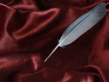 Spoletta lussuosa a piena vista su tessuto di seta rosso immagine stock libera da diritti
