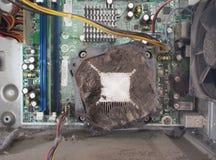 Spolvera il CPU interno del computer Fotografia Stock