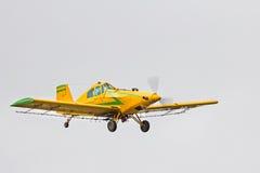 Spolveratore giallo del raccolto che vola in basso Immagine Stock