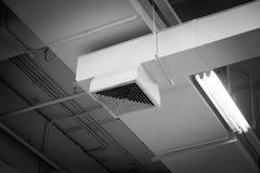 Spolveri fuori dalla presa d'aria, griglia di aria del soffitto nella causa dell'edificio per uffici di polmonite nell'uomo dell' fotografie stock