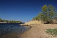 Sponda del fiume nel periodo in anticipo della molla Fotografia Stock Libera da Diritti