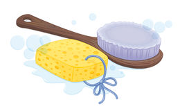 Spong and brush Royalty Free Stock Photos