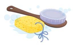 Spong e escova Fotos de Stock Royalty Free