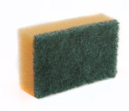 Sponge. Dishwashing sponge with green scrub pad Royalty Free Stock Photos
