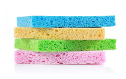 Sponge. A pile of colorful sponge on white background royalty free stock photo