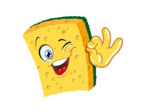 Sponge. Cartoon character ok smiling illustration funny Stock Photography