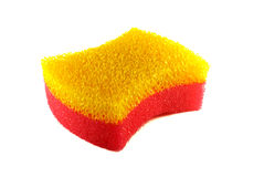 Sponge. Yellow-red sponge isolated on white Royalty Free Stock Photography