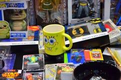 Sponge Bob SquarePants mug. Image of Sponge Bob SquarePants mug on sale at Comi Con Convention stock image