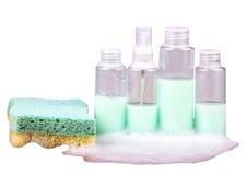 Sponge and bubble bath bottles Royalty Free Stock Photo