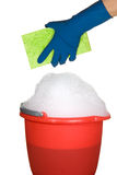Sponge, bucket and soapy water Royalty Free Stock Images