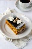 Sponge-cake с вареньем абрикоса в шоколаде Стоковое Изображение RF