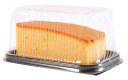 Sponge cake. Packed slices of a cake in a plastic container Stock Photo