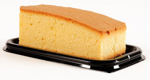Sponge cake. Slices of a sponge cake on a plastic display Royalty Free Stock Photography